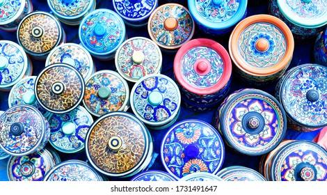 Designed pots in a local festival, India