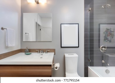 Designer Bathroom with Glass Shower and wooden cabinet