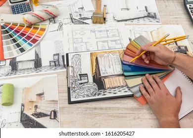 The designer chooses the perfect color for a new apartment. Sketch of a modern apartment