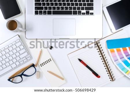 Designer Desk Table Computer Office Supplies Stockfoto Jetzt Cool Designer Office Supplies