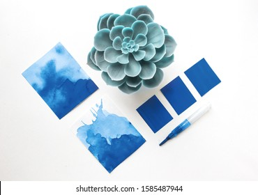designer desktop. Color sample guide blue. color of the year 2020 classic blue pantone