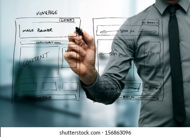 designer drawing website development wireframe - Shutterstock ID 156863096