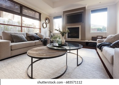 Designer family home casual living room in neutral tones and textures