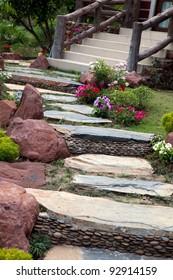 Designer garden and stones