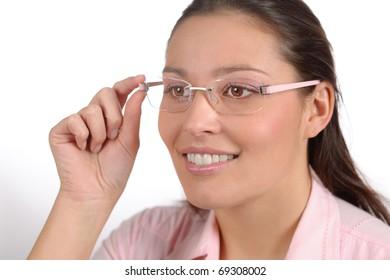 Designer glasses - portrait of trendy woman fashion