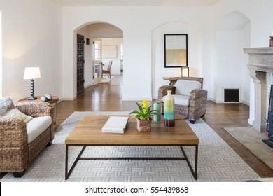 Designer Living Room with wooden table
