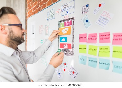 Designer man drawing website ux app development and holding smart phone on hand. User experience concept.