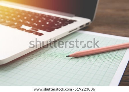 designer office table graph paper computer stock photo edit now