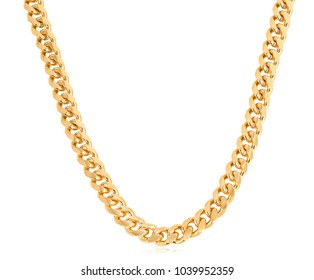 Designer thick gold curb link chain for men