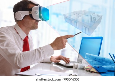 Designer visualizing 3d plane in virtual reality glasses in the office. Horizontal composition.