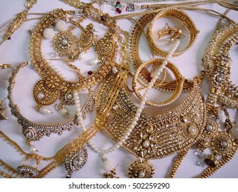 Designer women jewellery on white paper Background