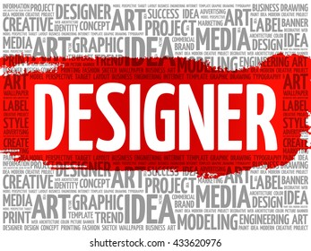 DESIGNER word cloud, creative business concept background