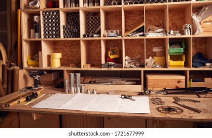 Designer Workbench With Components And Drawings For Hand Built  Bamboo Bicycle Frame