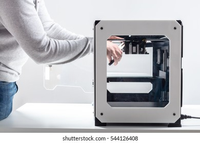 Designer Working With 3D Printer