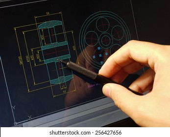 designer working on a cad blueprint