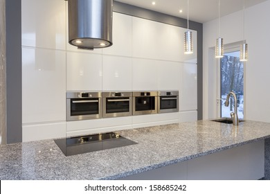 Designers interior - kitchen with white shelves