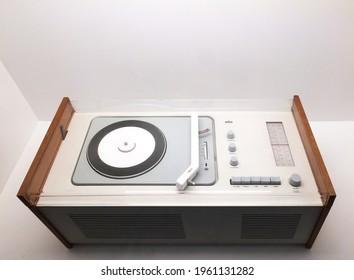 Designmuseum Denmark, Copenhagen, Denmark - 10.02.2019:  Braun SK 6 Phonosuper turntable record player, 1962, designed by Hans Gugelot and Dieter Rams