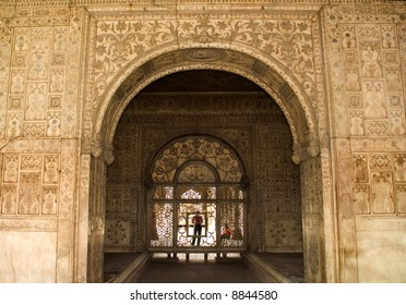 Designs on Walls inside of Red Fort, Delhi, India