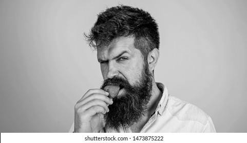 Desire concept. Oral pleasure. Man handsome strict face sexy hipster with long beard try strawberry. Hipster enjoy juicy ripe red strawberry. Man eating sweet strawberry. Gastronomic pleasure.