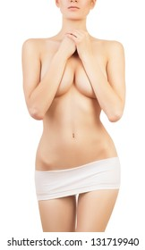 desire woman in white panties on white background