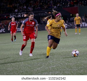 Desiree Scott midfielder for the Utah Royals at Providence Park in Portland Oregon USA July 6,2018.