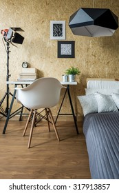 Desk and bed in modern stylish studio