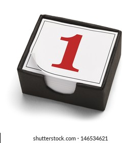 Desk Calendar with Day One or Number 1 in Red Isolated on a White Background.