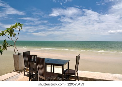 Desk and chairs at the beach