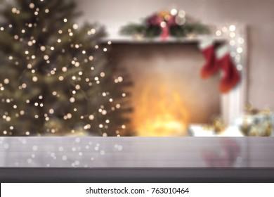 desk and christmas time