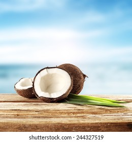 desk of cocnuts