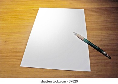 desk with empty paper
