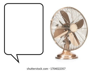 Desk Fan Isolated on White. Copper Retro Ventilator. Vintage Electric Fan. Pedestal Cooling Fans. Domestic Electric Small Appliances. Side and Front View of Cooper Metal Table Fan with 4 Metal Blades