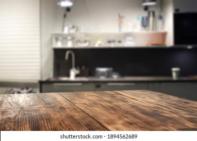 Desk of free space and kitchen interior