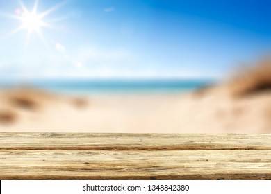 Desk of free space and summer sea landscape
