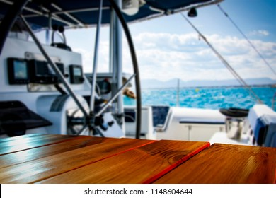 Desk of free space for your decoration and background of yacht.
