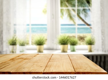 Desk of free space for your decoration and summer window background