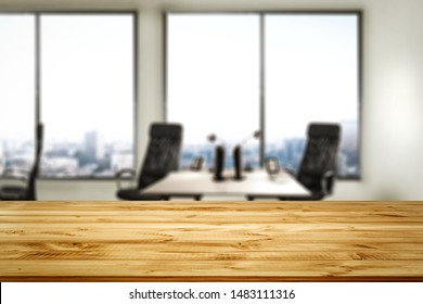Desk of free space for your decoration and office interior with big window.