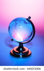 Desk Globe with Blue and Red Background