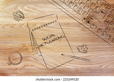 desk with keyboard, cup of coffee and memo; Social Networking