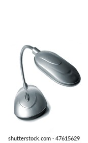 desk lamp with LEDs isolated over white background