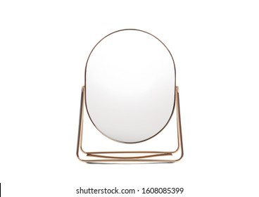 Desk mirror with stand isolated on white