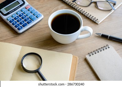 Desk office business financial accounting calculate, workplace