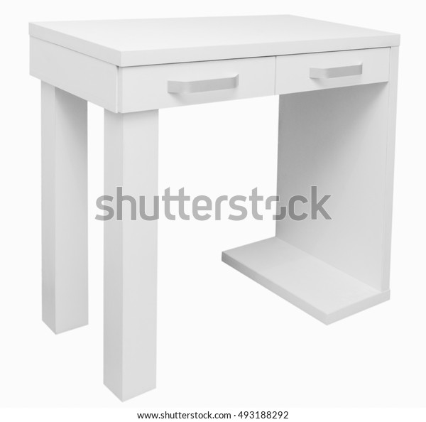 Desk on the white background closeup with two drawers