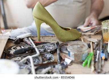 the desk of a shoemaker
