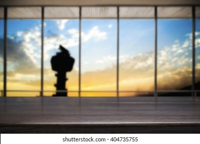 Desk space platform and flight control tower with twilight sky sunset and big window. For product display montage.