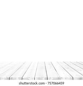 Pöytätila retro puuta/valkoinen tai harmaa puulankku/maalaismainen puu pöytä edessä valkoinen tausta.
