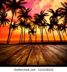 desk space and summer landscape with palms and sunset time