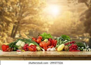 desk top and healthy vegetables