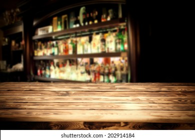 desk of wood and bar