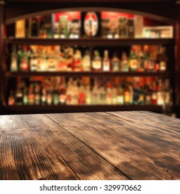 desk of wood bar and free space